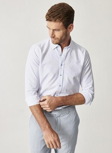 Altınyıldız Classics Baskılı Düğmeli Yaka Tailored Slim Fit Gömlek 4A2020200027 Beyaz